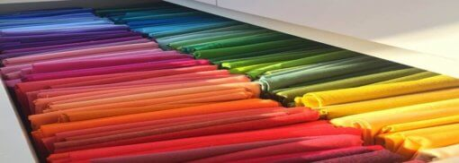 bright colour of draping fabrics