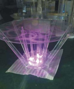 round glass table with lights