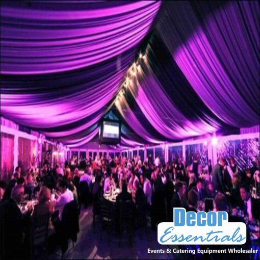 wedding draping decor fabrics used in a tent