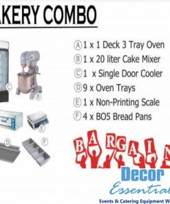 Bakery Combo 1 x 1 deck 3 tray oven 1 x 20Lt Cake mixer 1 x Single door cooler 9 x Oven Trays 1 x Non Printing Scale 4 x BO5 Bread Pans
