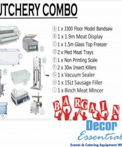 Butchery Combo 1 x J300 Floor model Bandsaw 1 x 1.9m Meat Display Freezer 1 x 1.5m Glass top Freezer 1 x Non Printing Scale 2 x 30w Insect Killers 1 x Vacuum Sealer 1 x 15Lt Sausage Filler 1 x 8 Inch Meat Mincer
