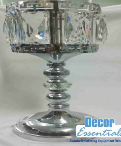 Centerpiece candle stand stainless steel with crystals