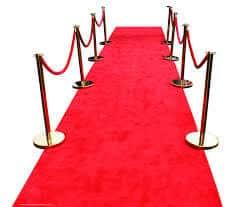 red carpet runner at a wedding venue