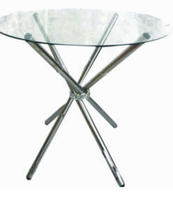 silver 4 seater glass table