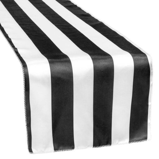 Strpped Satin Table runners black and white