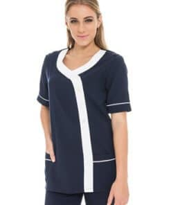 SS R-Neck contrast Tunic with pockets 70 N190