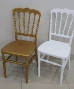 Resin napoleon chairs in gold and white