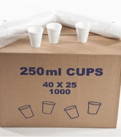 250ml white disposable cups