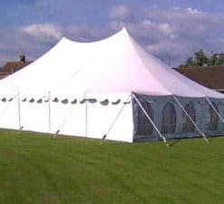 peg and pole tent white