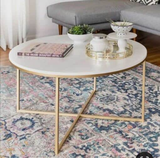 Wooden top Coffee Table with Gold Legs