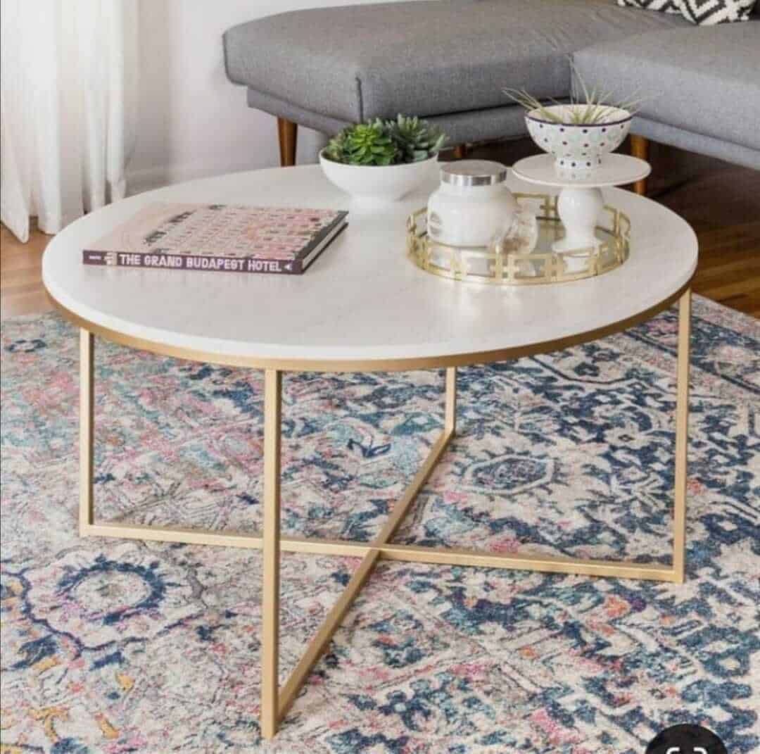 Picture of: Wooden Top Coffee Table With Gold Legs Decor Essentials