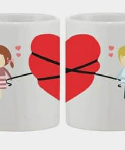 Couples Mug with Big red Heart