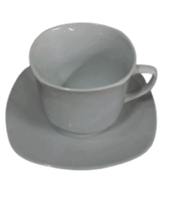 square cup and saucer